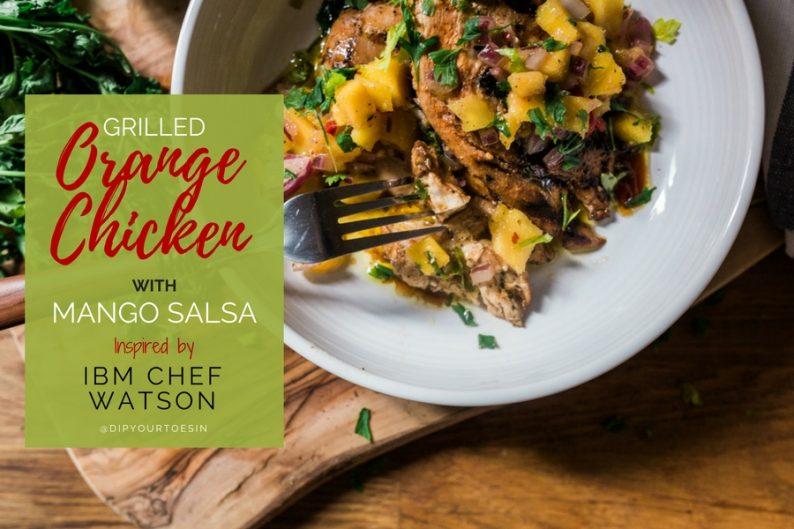 Grilled Orange Chicken with Mango Salsa | via @dipyourtoesin