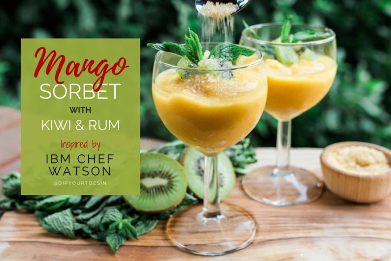 Mango sorbet with Kiwi & Rum inspired by Chef Watson   via @dipyourtoesin