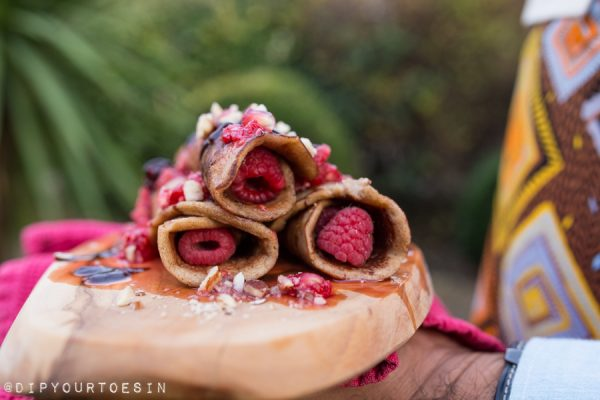 Plantain Crêpes with Raspberry-Pomegranate Compote (Gluten Free)