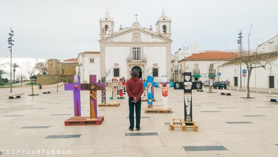 Standing in front of Igreja de Santa Maria, Lagos, Algarve, Portugal